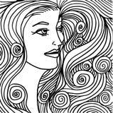 красивейшая женщина иллюстрации стороны Стоковые Изображения