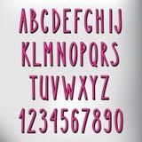 手拉的狭窄的桃红色字母表 免版税库存图片