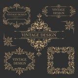 葡萄酒金框架 古色古香的装饰要素 库存图片