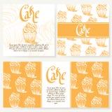 Меню кафа с дизайном нарисованным рукой Шаблон меню ресторана десерта Комплект карточек для фирменного стиля также вектор иллюстр Стоковое Изображение