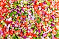 Υπόβαθρο τροφίμων της υγιούς τουρκικής σαλάτας ποιμένων Στοκ Φωτογραφία