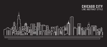 Линия дизайн здания городского пейзажа иллюстрации вектора искусства - город Чикаго Стоковое Изображение
