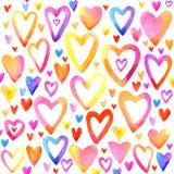 情人节水彩心脏 彩虹心脏集合 免版税库存照片