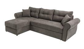 室内装饰品沙发与在与裁减路线的白色背景隔绝的枕头的角落集合 免版税库存照片