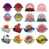 与星和月桂树花圈的篮球徽章 免版税库存照片