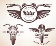 Комплект винтажных ярлыков мотоцикла, значков Стоковое Фото