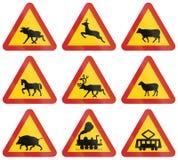 Предупреждающие дорожные знаки используемые в Швеции Стоковое Изображение RF