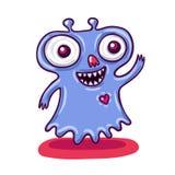 逗人喜爱的矮小的紫色妖怪例证 免版税库存照片