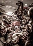 幻想一个女性战士女孩和一个男性骑士的动画片例证 免版税库存图片