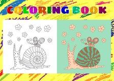 Книжка-раскраска для детей Схематичная маленькая розовая смешная улитка Стоковая Фотография RF