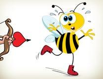 Пчела вспугнутая влюбленности Стоковая Фотография RF