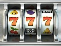 Μηχάνημα τυχερών παιχνιδιών με κέρματα με το τζακ ποτ Έννοια ΧΑΡΤΟΠΑΙΚΤΙΚΩΝ ΛΕΣΧΏΝ Στοκ Εικόνα