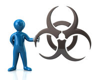 举行生物危害品标志的蓝色人字符 免版税库存图片