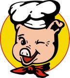 猪在厨房里帮忙的仆人 库存照片