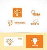 Логотип электрической лампочки идеи гения Стоковая Фотография RF