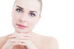 与女性妇女面孔的护肤概念 免版税库存照片