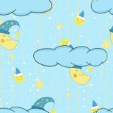 Картина милой иллюстрации шаржа безшовная для комнаты ребенка или постельного белья и пижам с усмехаясь луной и звездами вектор Стоковое Фото