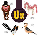 Буквы алфавита потехи животные для развития и учить детей дошкольного возраста Комплект милого леса, отечественный и морской Стоковые Фото