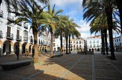 重创的广场,大正方形,萨夫拉,巴达霍斯,埃斯特雷马杜拉,西班牙省  免版税库存照片
