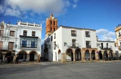 重创的广场,大正方形,萨夫拉,巴达霍斯,埃斯特雷马杜拉,西班牙省  免版税库存图片