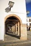 重创的广场,大正方形,萨夫拉,巴达霍斯,埃斯特雷马杜拉,西班牙省  免版税图库摄影