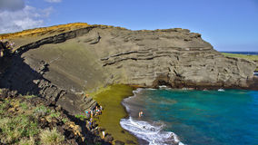 绿色沙子海滩,大岛,夏威夷 免版税图库摄影