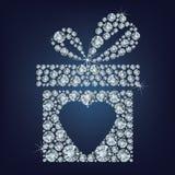 情人节礼物的概念例证当前与心脏标志在黑背景组成很多金刚石 免版税库存照片