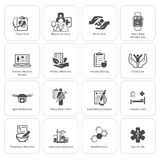 Ιατρικά και εικονίδια υγειονομικής περίθαλψης καθορισμένα Επίπεδο σχέδιο Στοκ εικόνες με δικαίωμα ελεύθερης χρήσης