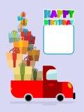 愉快的生日 有礼物的卡车 汽车和许多礼物盒 免版税库存照片