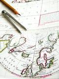 античный Северный полюс карты Стоковая Фотография RF