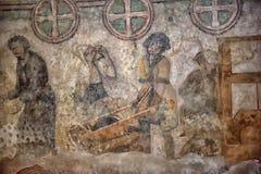 中世纪壁画在教会里 免版税库存照片