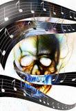 Череп и примечание музыки Череп в пламенах огня цвет Стоковое Изображение RF