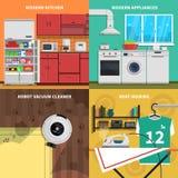 Εικονίδια έννοιας οικιακών συσκευών καθορισμένα Στοκ φωτογραφία με δικαίωμα ελεύθερης χρήσης