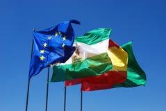 西班牙人和欧盟旗子 图库摄影