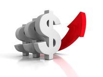 Έννοια αύξησης νομίσματος δολαρίων με το βέλος Στοκ φωτογραφία με δικαίωμα ελεύθερης χρήσης