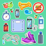 Значки спорта или элементы набора фитнеса Концепция спорта, вектор Стоковое Фото