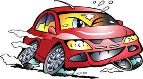 Διανυσματική απεικόνιση κινούμενων σχεδίων μιας κόκκινης μασκότ αθλητικών αυτοκινήτων που συναγωνίζεται στην πλήρη ταχύτητα Στοκ Εικόνα