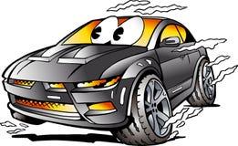 Διανυσματική απεικόνιση κινούμενων σχεδίων μιας γκρίζας μασκότ αθλητικών αυτοκινήτων που συναγωνίζεται στην πλήρη ταχύτητα Στοκ εικόνες με δικαίωμα ελεύθερης χρήσης