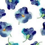 紫罗兰水彩开花无缝的样式 库存照片
