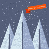 Κάρτα Χριστουγέννων με τα χριστουγεννιάτικα δέντρα Στοκ φωτογραφίες με δικαίωμα ελεύθερης χρήσης