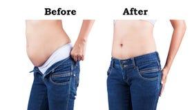 在肥胖腹部前后的身体 免版税库存图片
