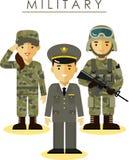 战士男人和妇女用不同的军事 免版税库存照片