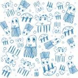 Μπλε πλαίσιο σχεδίων μεδουσών παιδιών στο λευκό Στοκ Εικόνες