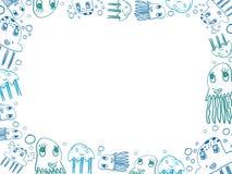 Οριζόντιο πλαίσιο σχεδίων μεδουσών παιδιών μπλε Στοκ φωτογραφίες με δικαίωμα ελεύθερης χρήσης