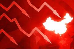 Κρίση στην Κίνα - κόκκινη απεικόνιση υποβάθρου ειδήσεων έννοιας βελών Στοκ Εικόνες