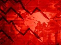 Η σφαιρική κρίση - κόκκινη έννοια υποβάθρου Στοκ Εικόνα