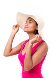 Расслабленный, освежающ, счастливая дама лета Стоковые Фото