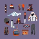 传染媒介套滑雪和雪板设备象 免版税库存照片