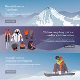 传染媒介套滑雪和雪板设备横幅 库存照片