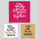 Комплект карточек влюбленности каллиграфии щетки Стоковая Фотография